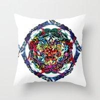 shield Throw Pillows featuring SHIELD by Paix Vivante
