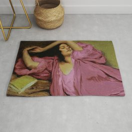 """Classical masterpiece """"Woman Stretching on Couch"""" by Emile Victor Prouvé Rug"""