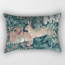 William Morris Forest Rabbits and Foxglove Rectangular Pillow