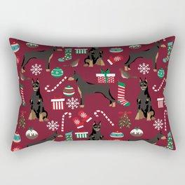 Doberman Pinscher christmas holiday pet pattern dog portrait dog breeds Rectangular Pillow