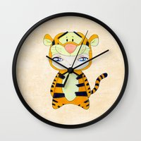 tigger Wall Clocks featuring A Boy - Tigger by Christophe Chiozzi