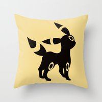umbreon Throw Pillows featuring Umbreon by Polvo