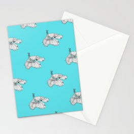 Aqua hibiscus Stationery Cards