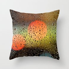 Rain Drops and Color Pops Throw Pillow
