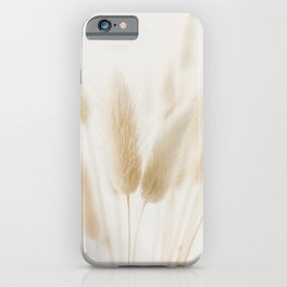 Soft White Hares-tail Grass. Minimalistic print - fine art photography iPhone Case