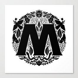 Letter M monogram wildwood Canvas Print