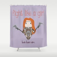 diablo Shower Curtains featuring Fight Like a Girl - Diablo 3 ~ Barbarian by ~ isa ~