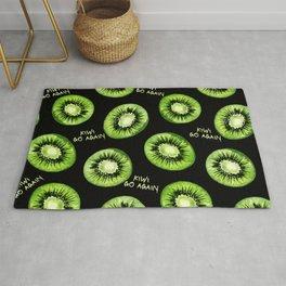 Kiwi Go Again Funny Kiwi Fruit Pun Pattern (black) Rug