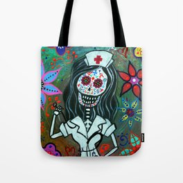 MY FAVORITE NURSE MEXICAN DAY OF THE DEAD PAINTING Tote Bag