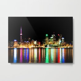 Toronto Skyline At Night From Polson St No 1 Metal Print