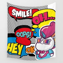 Funny Multicolor Comic Unicorn Pop Art Wall Tapestry