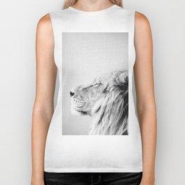 Lion Portrait - Black & White Biker Tank