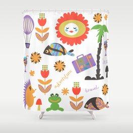Trav pattern 3h Shower Curtain