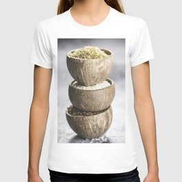 Assortment of different rice in bowls T-shirt