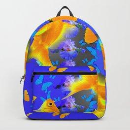 GOLDFISH & YELLOW BUTTERFLIES PURPLE ART Backpack