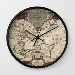 Planet / Old Map Wall Clock
