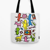 keith haring Tote Bags featuring Keith Haring & Simpsons by le.duc