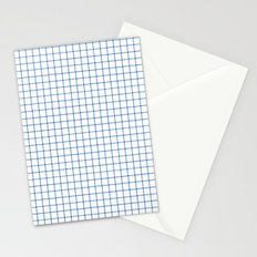 Blue on White Grid Stationery Cards