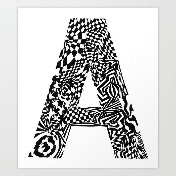 Alphabet Letter A Hand Drawn Lettering Abstract Pattern ink