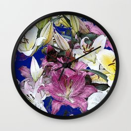 PURPLE & WHITE ASIAN GARDEN LILIES DRAWING Wall Clock