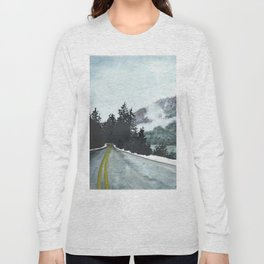 vancouver island // watercolor landscape canada snow mountain road roadtrip Long Sleeve T-shirt