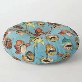 fishing with worms Floor Pillow