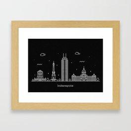 Indianapolis Minimal Nightscape / Skyline Drawing Framed Art Print
