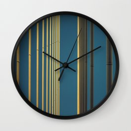 Yellow lines into the sky Wall Clock