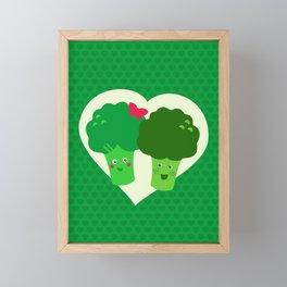 Broccoli in love Framed Mini Art Print