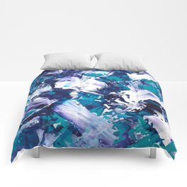 Be the Change   Modern blue teal green purple white abstract acrylic painting Comforters