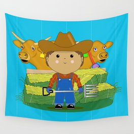 Rancher Dude With Cattle (Kawaii Style) Wall Tapestry