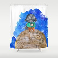 the little prince Shower Curtains featuring Little Prince Vader by gunberk