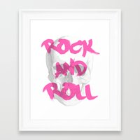 rock and roll Framed Art Prints featuring Rock & Roll  by Pretty Little Things