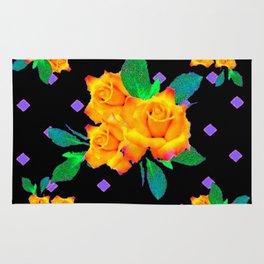 Black & Violet Golden Roses Pattern Rug