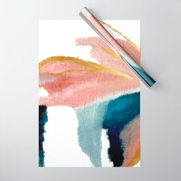 Exhale: a pretty, minimal, acrylic piece in pinks, blues, and gold Wrapping Paper