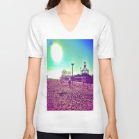 santa monica V-neck T-shirts featuring Santa Monica by SefoG