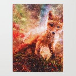 CUTE LITTLE BABY FOX CUB PUP Poster