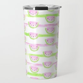 Modern pink lime green watercolor watermelon stripes Travel Mug