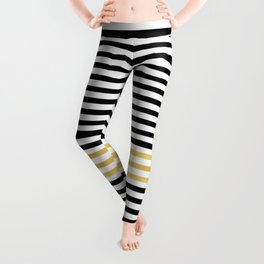 Luxurious zebra golden black lines Leggings