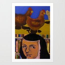 Sor Juana Inez de la Cruz y las gallinas de mi Abuela Art Print