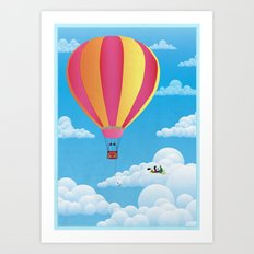 Picnic in a Balloon on a Cloud Art Print
