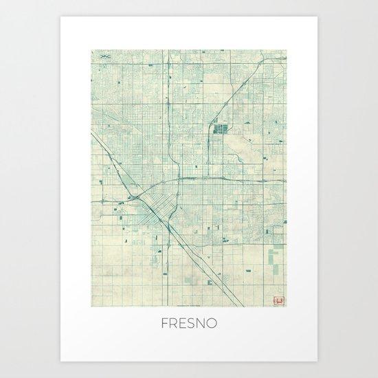 Fresno Map Blue Vintage Art Print