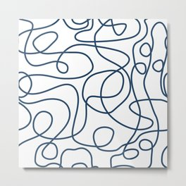 Doodle Line Art | Petrol Blue Lines on White Background Metal Print