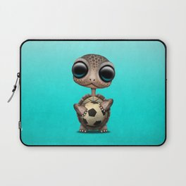 Cute Baby Turtle With Football Soccer Ball Laptop Sleeve