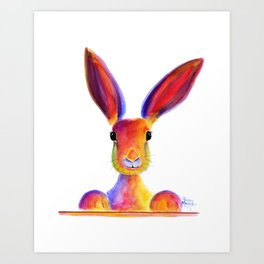 Happy Hare Rabbit ' JUST TO SAY HELLO ' by Shirley MacArthur Art Print