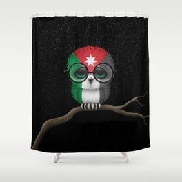 Baby Owl with Glasses and Jordanian Flag Shower Curtain