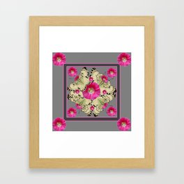 CHARCOAL GREY PINK FLOWERS YELLOW BUTTERFLIES Framed Art Print
