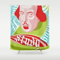 shakespeare Shower Curtains featuring Shakespeare Says Study by Alison Rowan