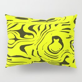 Juicy flowing spots of yellow lines on black. Pillow Sham