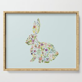 Spring Flowers Bunny on Blue Serving Tray
